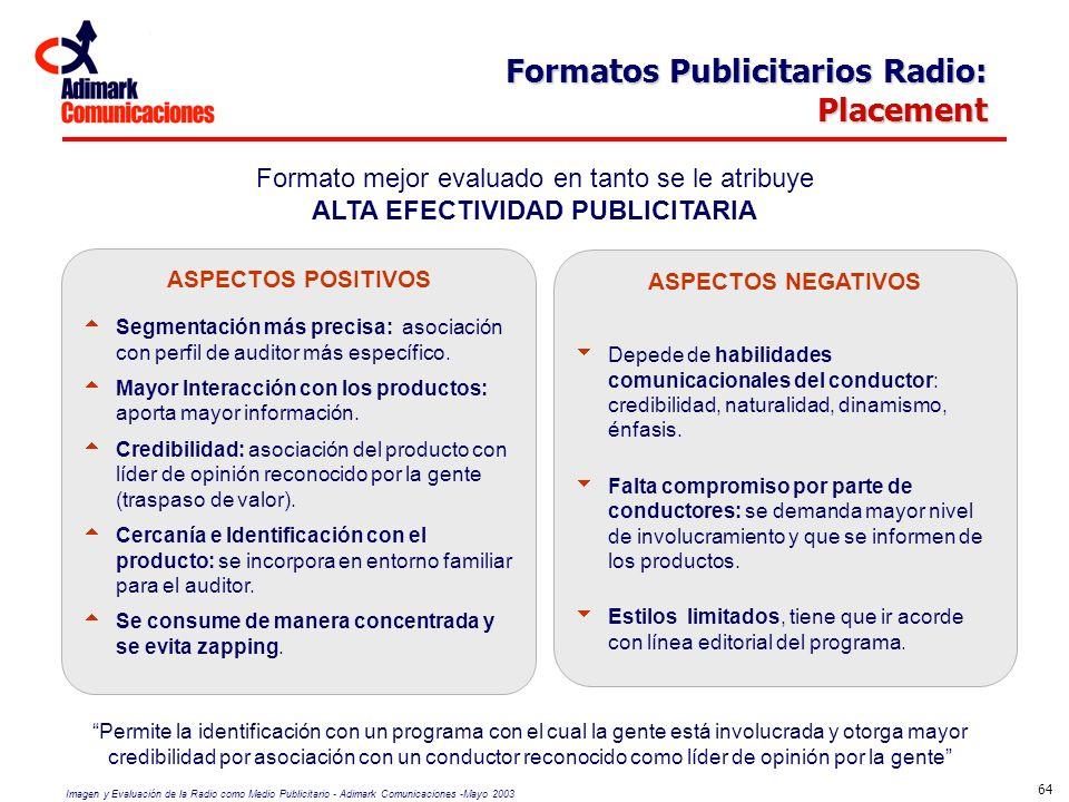 Imagen y Evaluación de la Radio como Medio Publicitario - Adimark Comunicaciones -Mayo 2003 64 Formatos Publicitarios Radio: Placement Formato mejor e