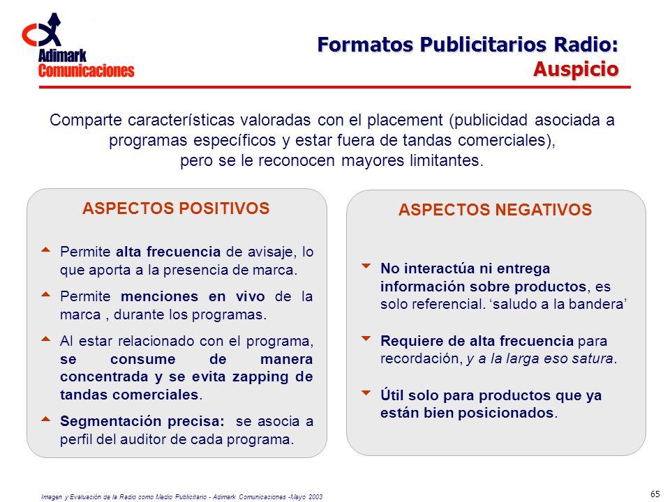 Imagen y Evaluación de la Radio como Medio Publicitario - Adimark Comunicaciones -Mayo 2003 65 Formatos Publicitarios Radio: Auspicio Comparte caracte
