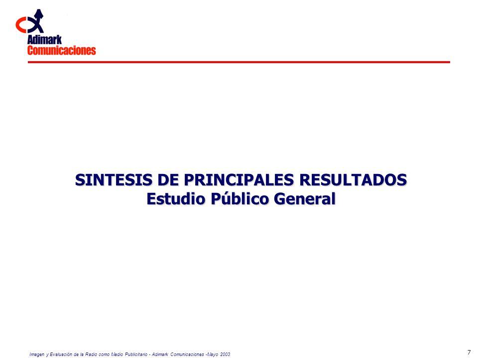 Imagen y Evaluación de la Radio como Medio Publicitario - Adimark Comunicaciones -Mayo 2003 7 SINTESIS DE PRINCIPALES RESULTADOS Estudio Público Gener