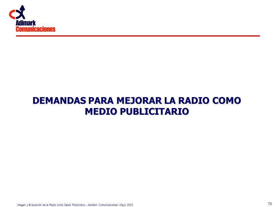 Imagen y Evaluación de la Radio como Medio Publicitario - Adimark Comunicaciones -Mayo 2003 70 DEMANDAS PARA MEJORAR LA RADIO COMO MEDIO PUBLICITARIO
