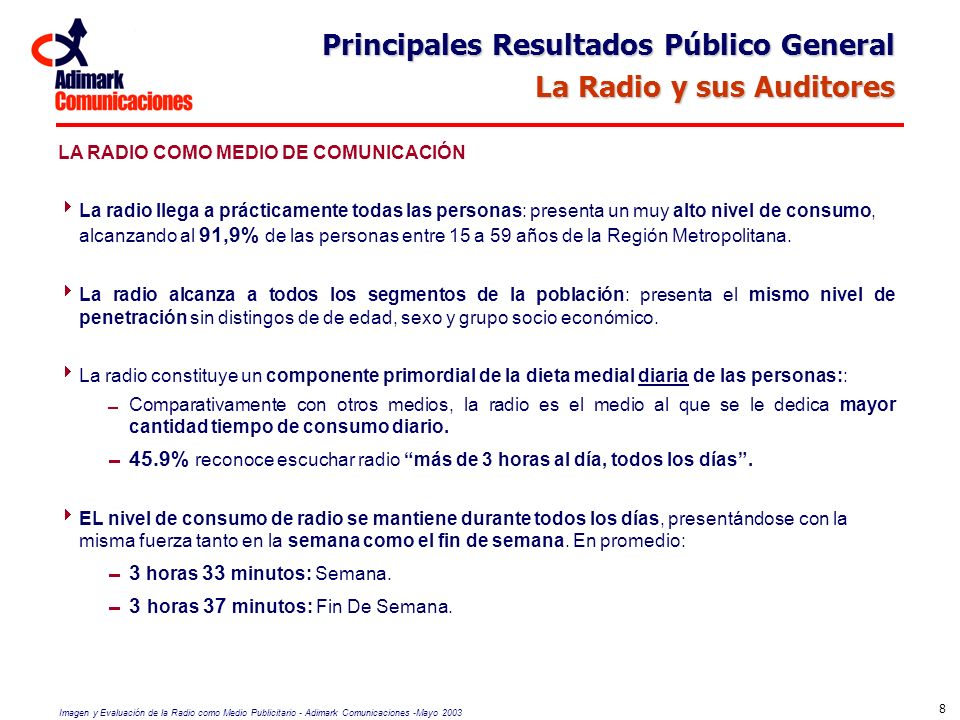 Imagen y Evaluación de la Radio como Medio Publicitario - Adimark Comunicaciones -Mayo 2003 39 Lugares y Horarios en que se Escucha Radio HOGAR AUN CUANDO TODOS LOS SEGMENTOS SEÑALAN EN EL HOGAR COMO SU PRINCIPAL LUGAR DE ESCUCHA, SE PRESENTAN DIFERENCIAS SEGÚN SEXO: MUJERES: se manifiesta mayor nivel de consumo Consumo más intensivo durante las mañanas (semana y fin de semana), mientras se realizan actividades en la casa.