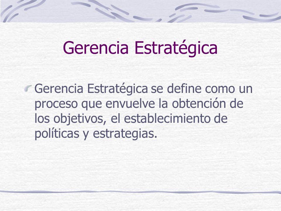 Gerencia Estratégica Gerencia Estratégica se define como un proceso que envuelve la obtención de los objetivos, el establecimiento de políticas y estr