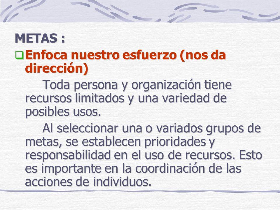 METAS : Enfoca nuestro esfuerzo (nos da dirección) Enfoca nuestro esfuerzo (nos da dirección) Toda persona y organización tiene recursos limitados y u
