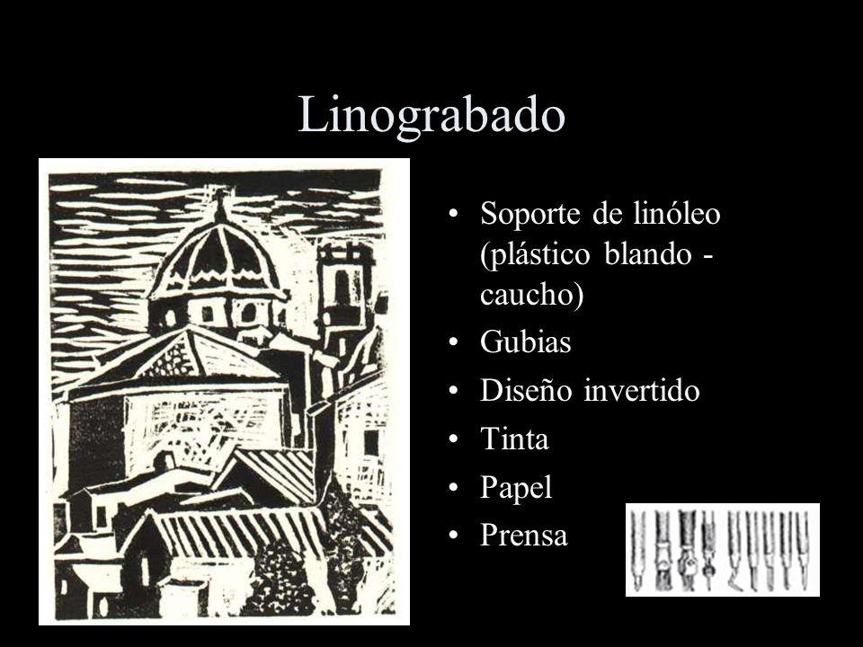 Linograbado Soporte de linóleo (plástico blando - caucho) Gubias Diseño invertido Tinta Papel Prensa