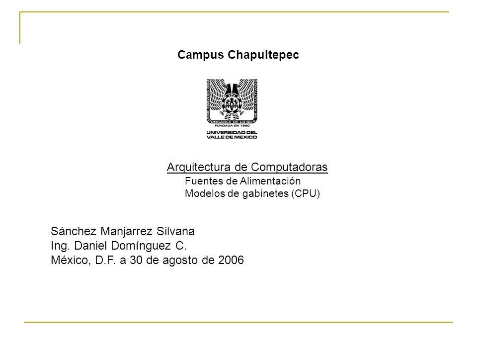 Campus Chapultepec Arquitectura de Computadoras Fuentes de Alimentación Modelos de gabinetes (CPU) Sánchez Manjarrez Silvana Ing.
