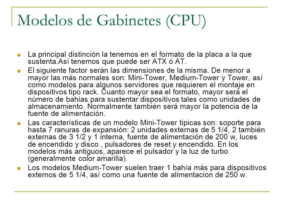 Modelos de Gabinetes (CPU) La principal distinción la tenemos en el formato de la placa a la que sustenta.Así tenemos que puede ser ATX ó AT.