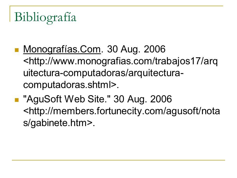 Bibliografía Monografías.Com. 30 Aug. 2006. AguSoft Web Site. 30 Aug. 2006.