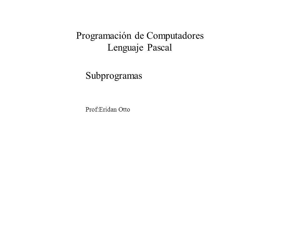 Subprogramas Prof:Eridan Otto Programación de Computadores Lenguaje Pascal