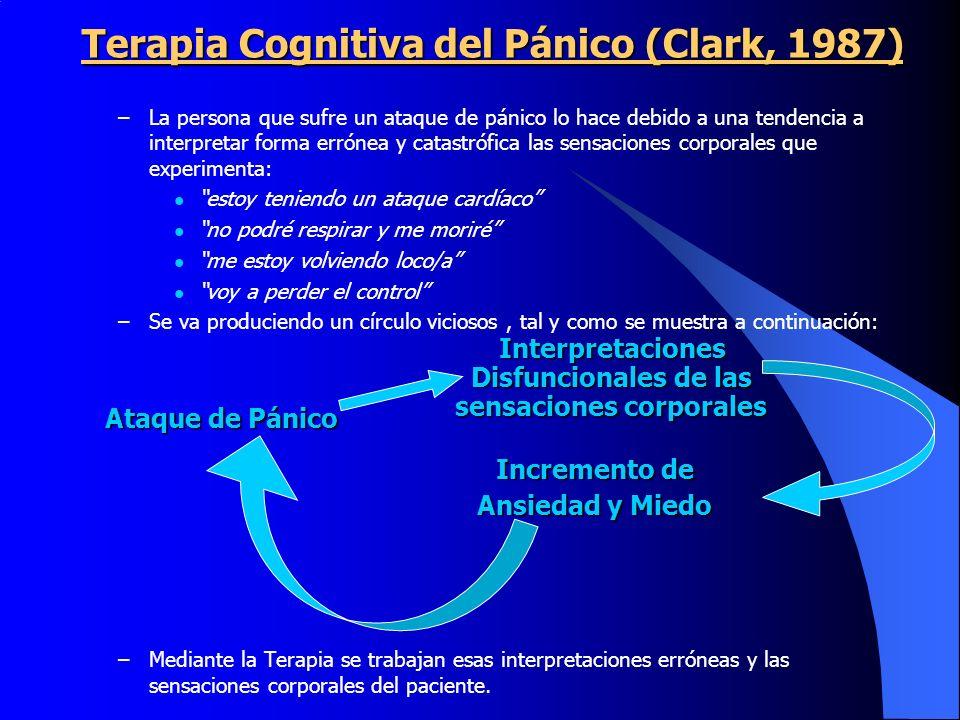 Terapia Cognitiva del Pánico (Clark, 1987) –La persona que sufre un ataque de pánico lo hace debido a una tendencia a interpretar forma errónea y cata