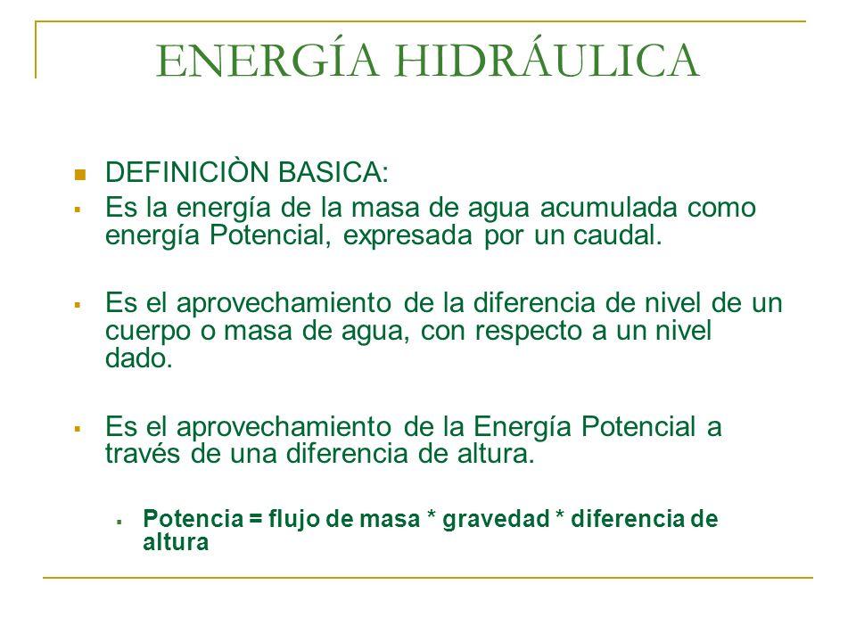 ENERGÍA HIDRÁULICA DEFINICIÒN BASICA: Es la energía de la masa de agua acumulada como energía Potencial, expresada por un caudal. Es el aprovechamient