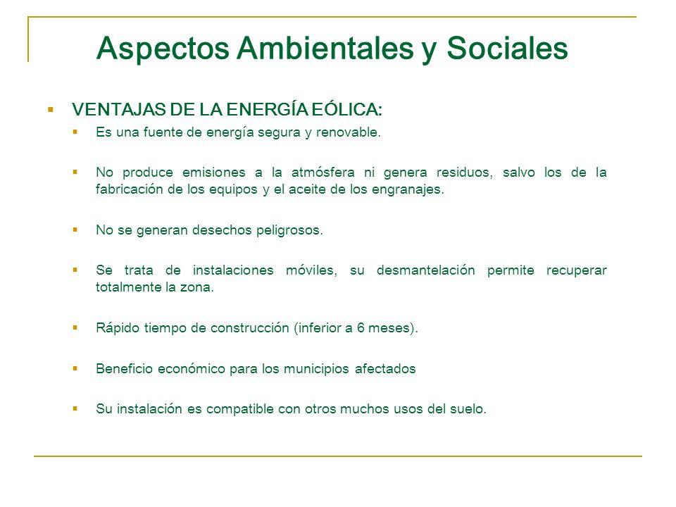 Aspectos Ambientales y Sociales VENTAJAS DE LA ENERGÍA EÓLICA: Es una fuente de energía segura y renovable. No produce emisiones a la atmósfera ni gen