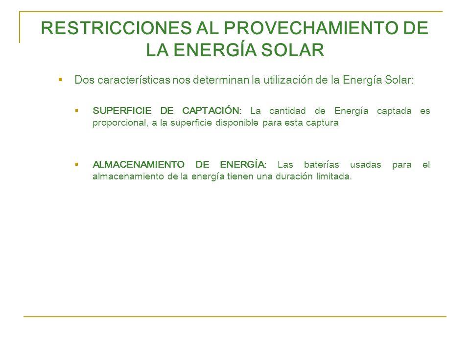 RESTRICCIONES AL PROVECHAMIENTO DE LA ENERGÍA SOLAR Dos características nos determinan la utilización de la Energía Solar: SUPERFICIE DE CAPTACIÓN: La