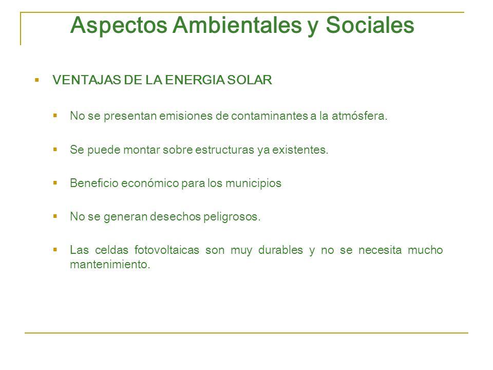 Aspectos Ambientales y Sociales VENTAJAS DE LA ENERGIA SOLAR No se presentan emisiones de contaminantes a la atmósfera. Se puede montar sobre estructu
