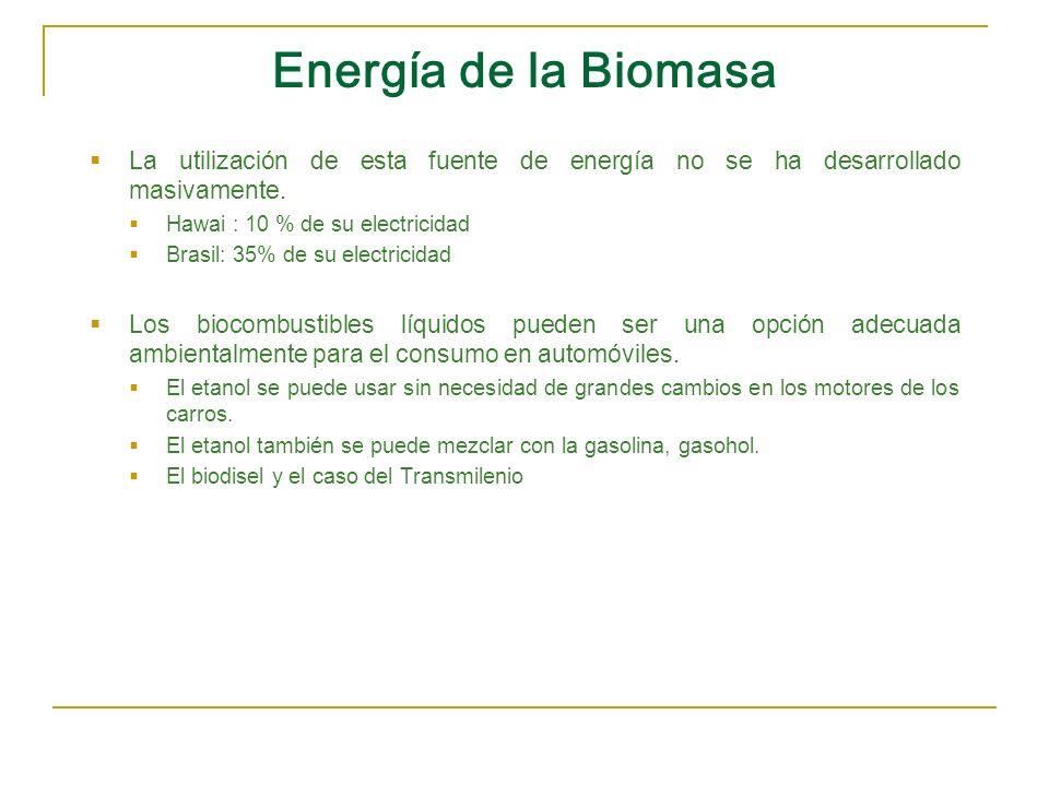 Energía de la Biomasa La utilización de esta fuente de energía no se ha desarrollado masivamente. Hawai : 10 % de su electricidad Brasil: 35% de su el