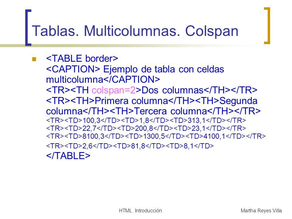 HTML. IntroducciónMartha Reyes Villa Tablas. Multicolumnas. Colspan Ejemplo de tabla con celdas multicolumna Dos columnas Primera columna Segunda colu