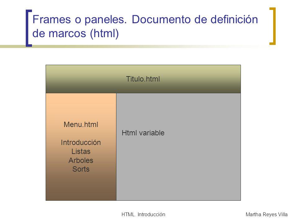 HTML. IntroducciónMartha Reyes Villa Frames o paneles. Documento de definición de marcos (html) Html variable Titulo.html Menu.html Introducción Lista