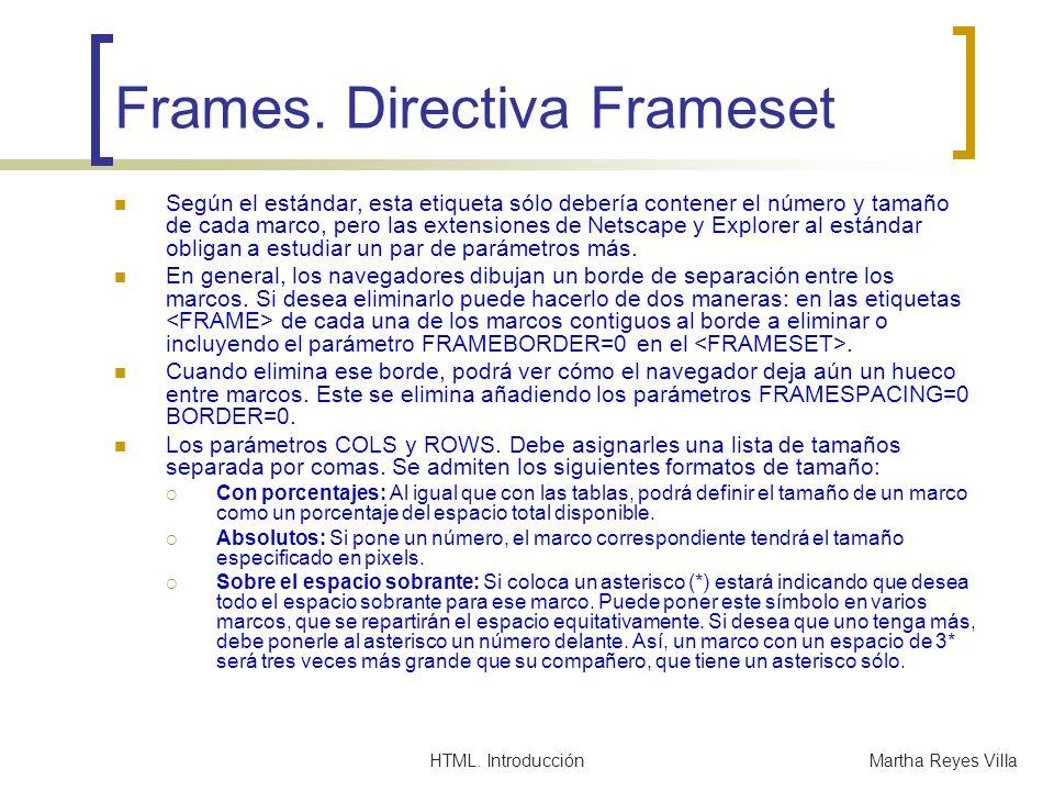 HTML. IntroducciónMartha Reyes Villa Frames. Directiva Frameset Según el estándar, esta etiqueta sólo debería contener el número y tamaño de cada marc