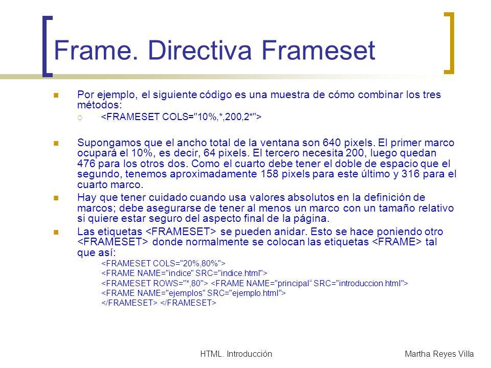 HTML. IntroducciónMartha Reyes Villa Frame. Directiva Frameset Por ejemplo, el siguiente código es una muestra de cómo combinar los tres métodos: Supo