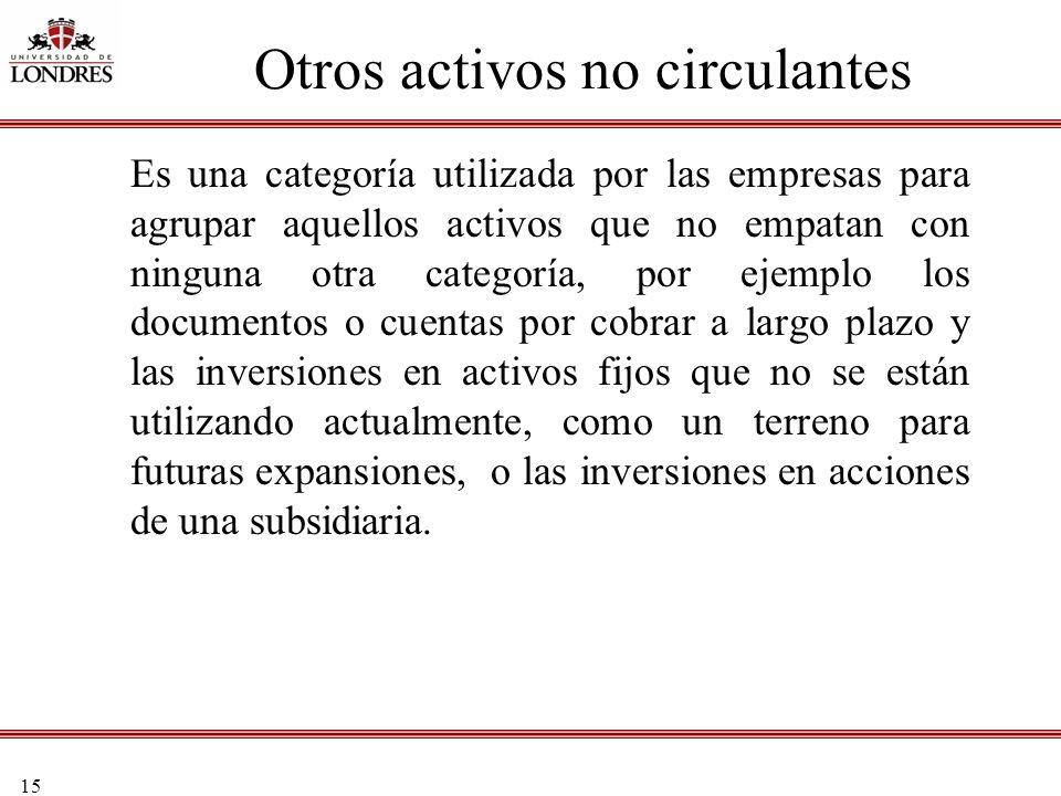 15 Otros activos no circulantes Es una categoría utilizada por las empresas para agrupar aquellos activos que no empatan con ninguna otra categoría, p