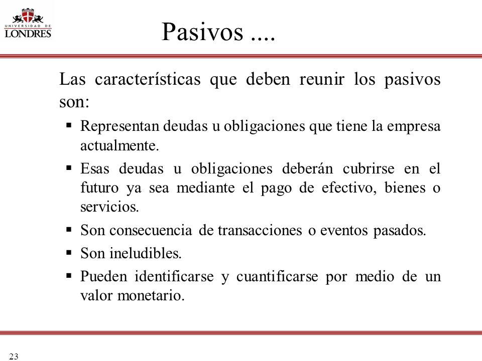 23 Pasivos.... Las características que deben reunir los pasivos son: Representan deudas u obligaciones que tiene la empresa actualmente. Esas deudas u