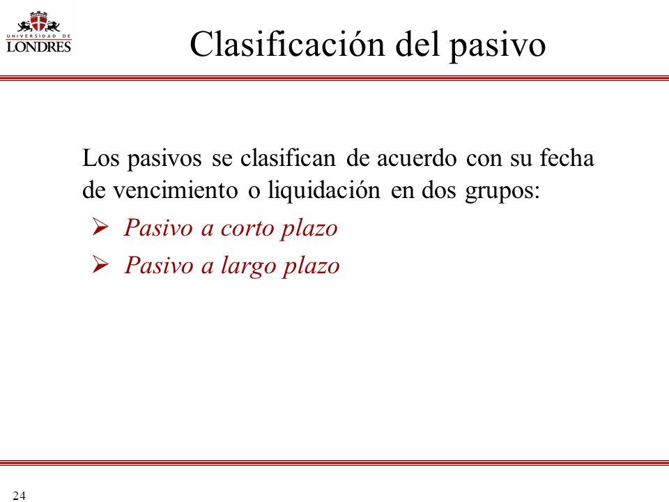 24 Clasificación del pasivo Los pasivos se clasifican de acuerdo con su fecha de vencimiento o liquidación en dos grupos: Pasivo a corto plazo Pasivo
