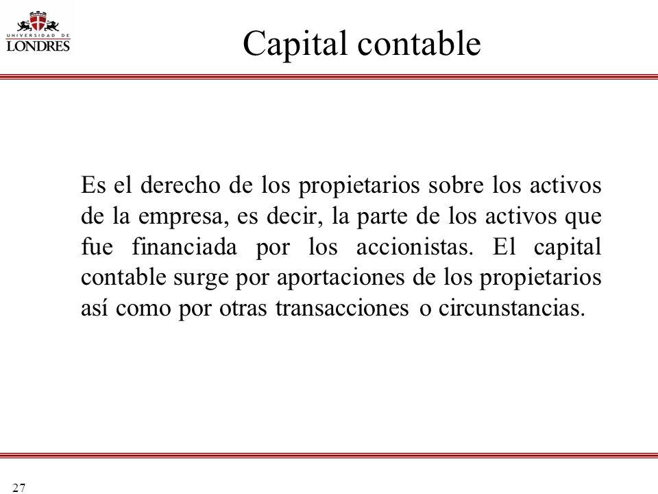 27 Capital contable Es el derecho de los propietarios sobre los activos de la empresa, es decir, la parte de los activos que fue financiada por los ac