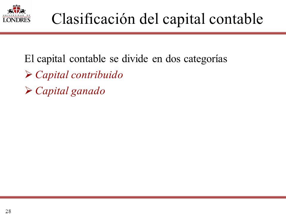 28 El capital contable se divide en dos categorías Capital contribuido Capital ganado Clasificación del capital contable
