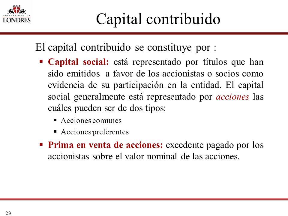 29 Capital contribuido El capital contribuido se constituye por : Capital social: está representado por títulos que han sido emitidos a favor de los a