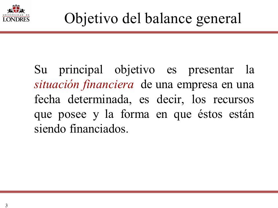 3 Objetivo del balance general Su principal objetivo es presentar la situación financiera de una empresa en una fecha determinada, es decir, los recur