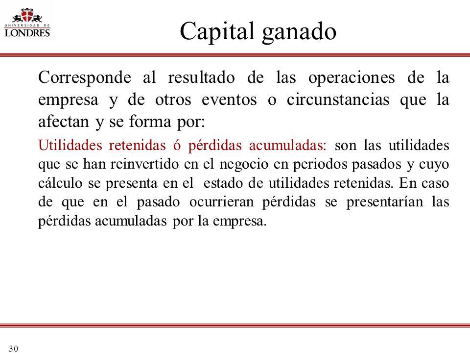 30 Capital ganado Corresponde al resultado de las operaciones de la empresa y de otros eventos o circunstancias que la afectan y se forma por: Utilida