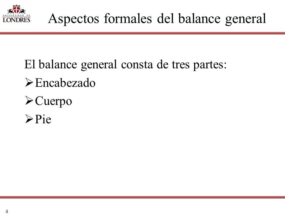 4 Aspectos formales del balance general El balance general consta de tres partes: Encabezado Cuerpo Pie