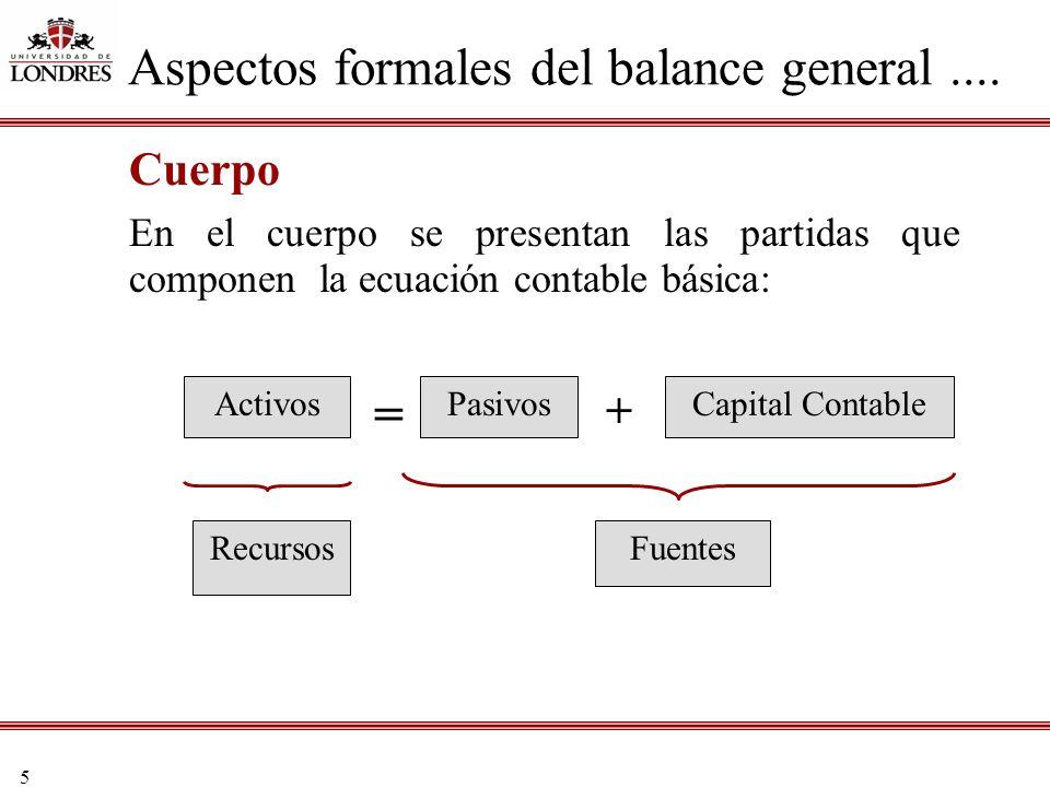 5 Cuerpo En el cuerpo se presentan las partidas que componen la ecuación contable básica: Aspectos formales del balance general.... = ActivosPasivosCa