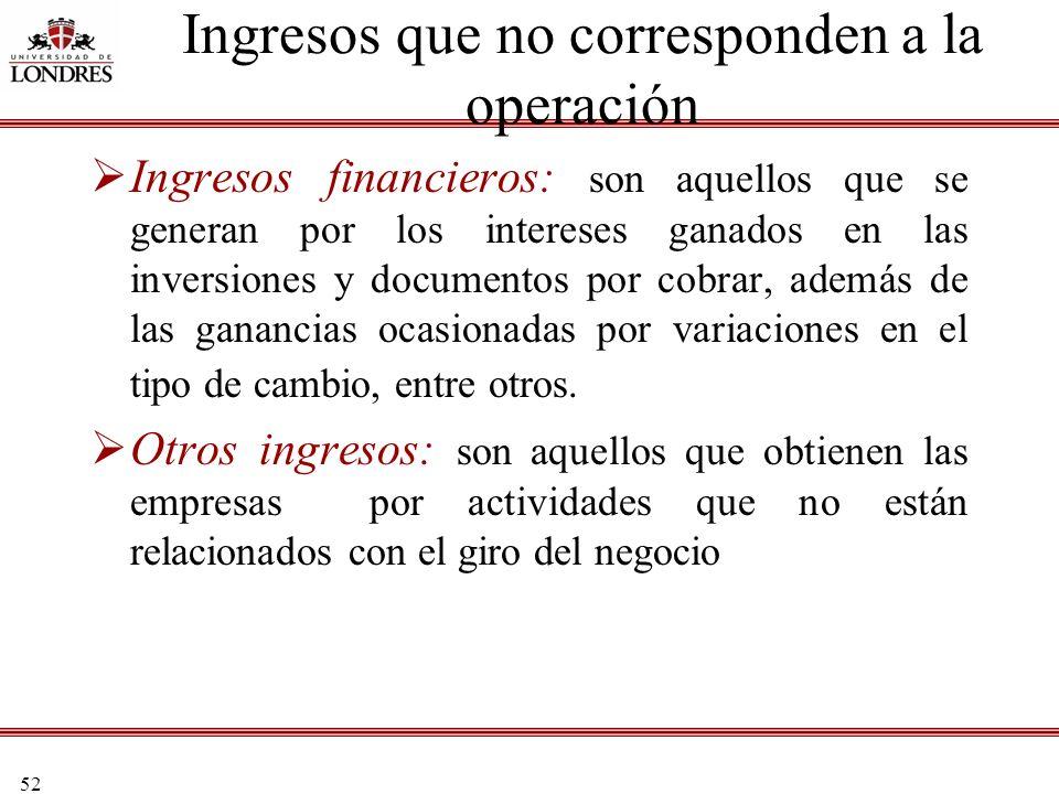 52 Ingresos que no corresponden a la operación Ingresos financieros: son aquellos que se generan por los intereses ganados en las inversiones y docume
