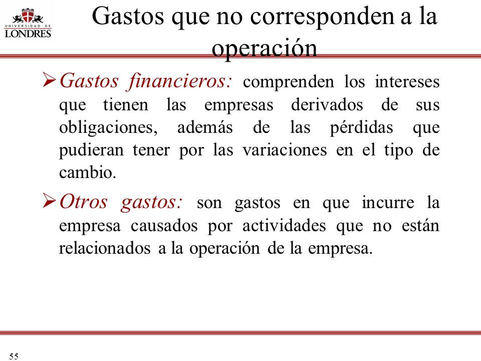 55 Gastos que no corresponden a la operación Gastos financieros: comprenden los intereses que tienen las empresas derivados de sus obligaciones, ademá
