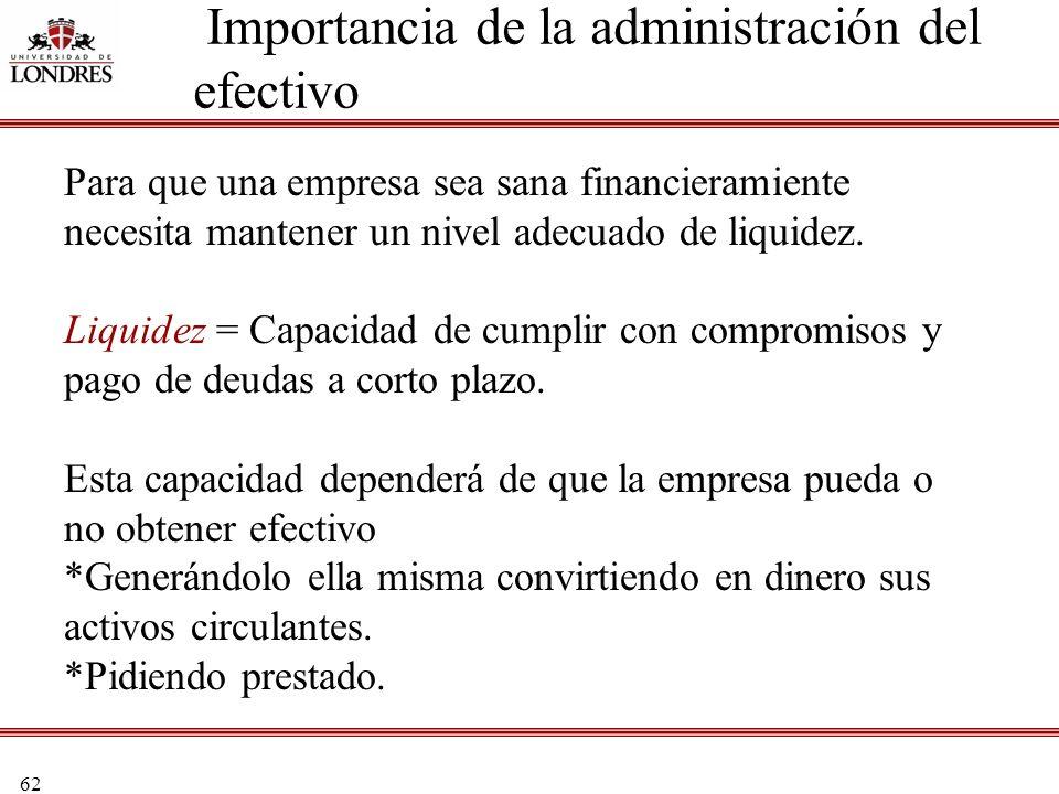 62 Importancia de la administración del efectivo Para que una empresa sea sana financieramiente necesita mantener un nivel adecuado de liquidez. Liqui