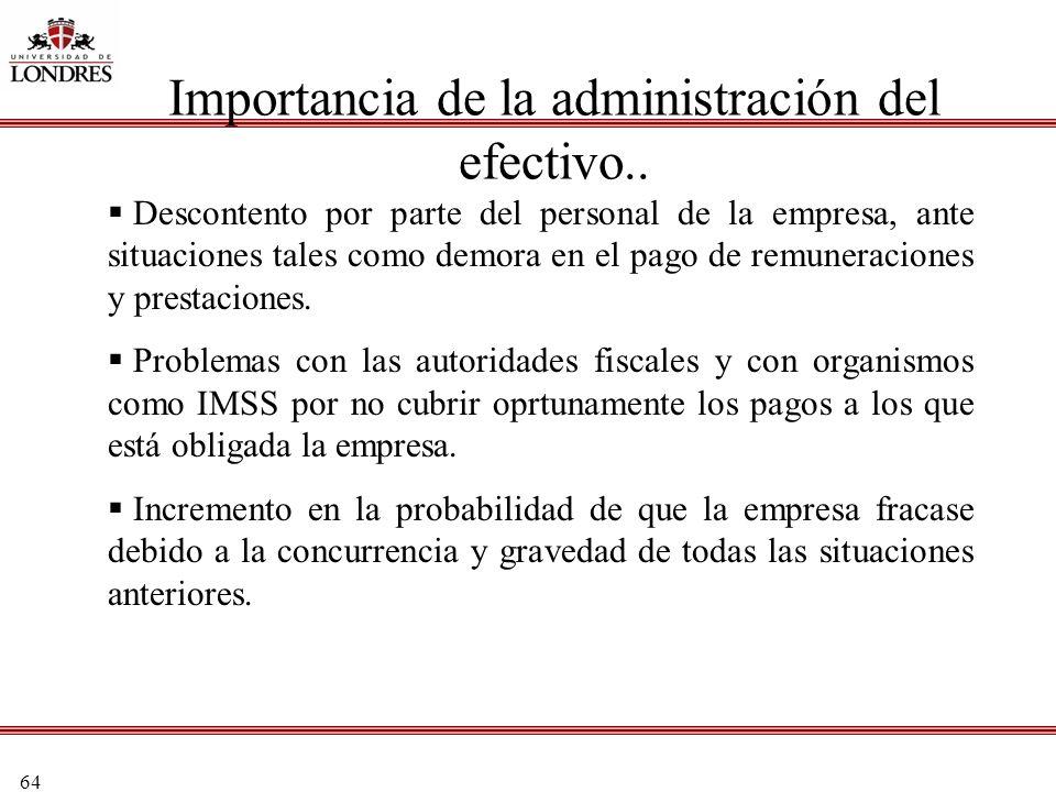 64 Importancia de la administración del efectivo.. Descontento por parte del personal de la empresa, ante situaciones tales como demora en el pago de