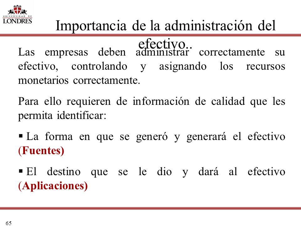 65 Importancia de la administración del efectivo.. Las empresas deben administrar correctamente su efectivo, controlando y asignando los recursos mone