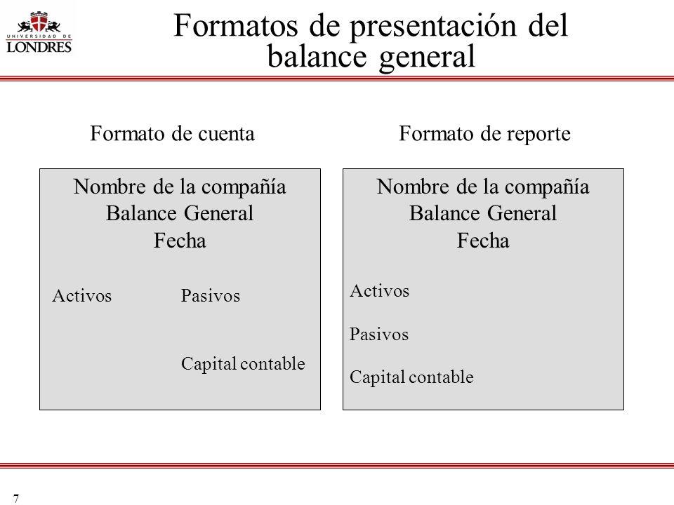 7 Formatos de presentación del balance general Nombre de la compañía Balance General Fecha Activos Pasivos Capital contable Nombre de la compañía Bala