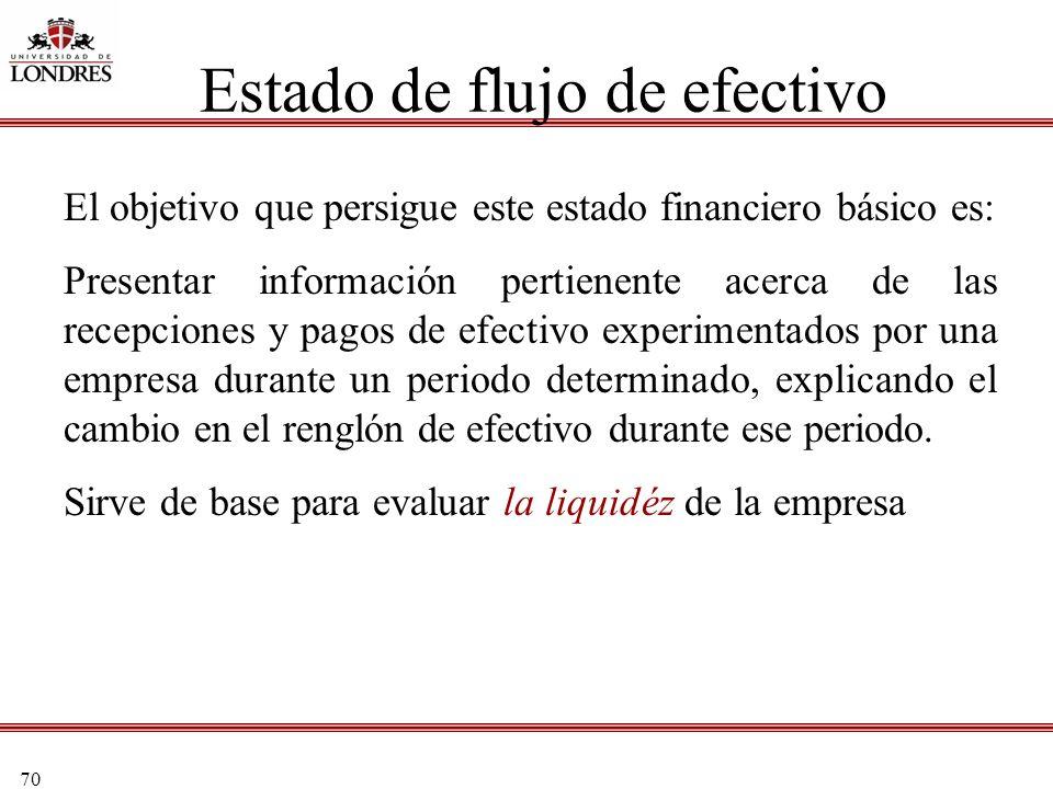 70 Estado de flujo de efectivo El objetivo que persigue este estado financiero básico es: Presentar información pertienente acerca de las recepciones