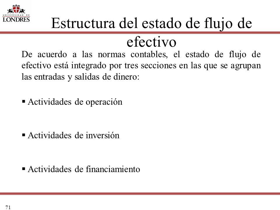 71 Estructura del estado de flujo de efectivo De acuerdo a las normas contables, el estado de flujo de efectivo está integrado por tres secciones en l