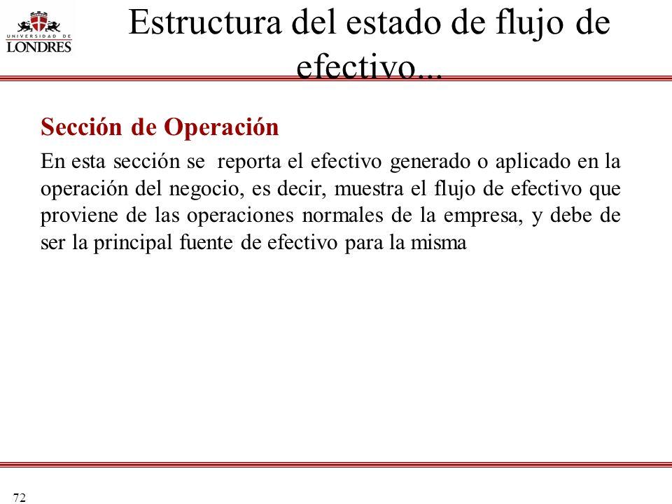 72 Estructura del estado de flujo de efectivo... Sección de Operación En esta sección se reporta el efectivo generado o aplicado en la operación del n