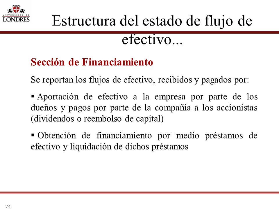 74 Estructura del estado de flujo de efectivo... Sección de Financiamiento Se reportan los flujos de efectivo, recibidos y pagados por: Aportación de
