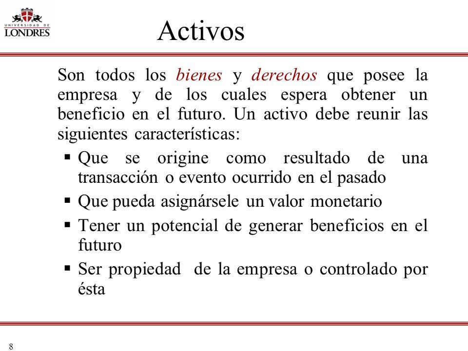 8 Activos Son todos los bienes y derechos que posee la empresa y de los cuales espera obtener un beneficio en el futuro. Un activo debe reunir las sig
