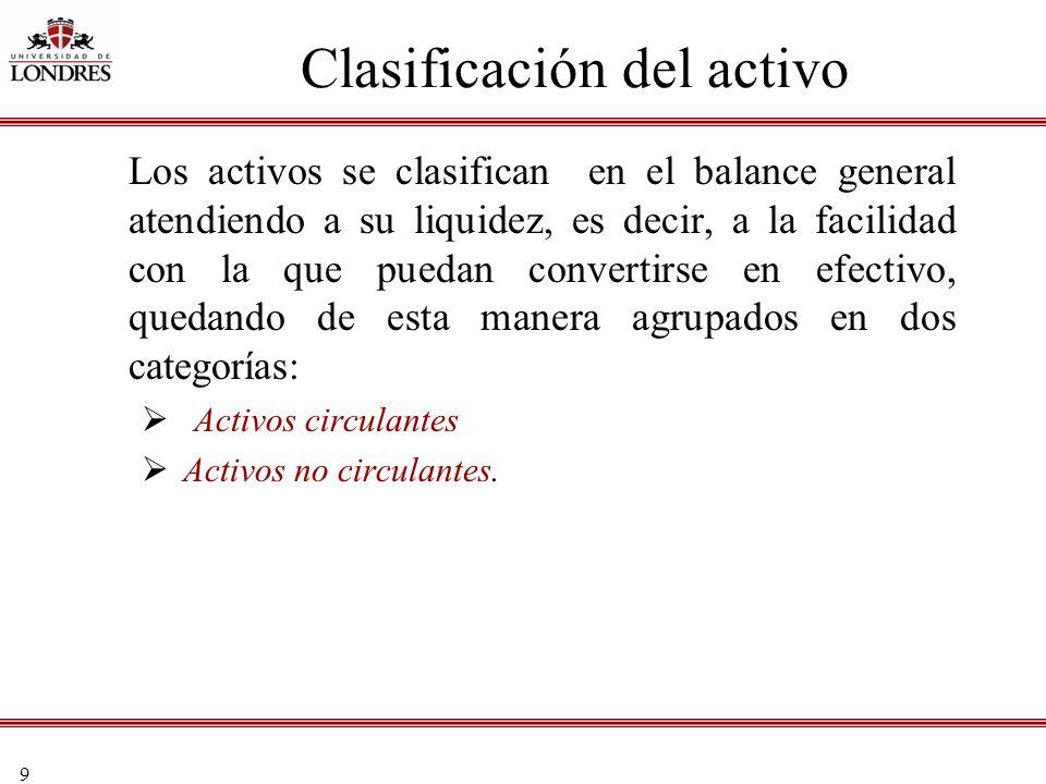 9 Clasificación del activo Los activos se clasifican en el balance general atendiendo a su liquidez, es decir, a la facilidad con la que puedan conver