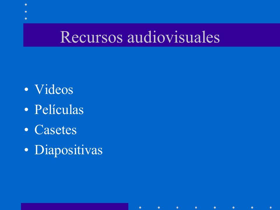 Recursos audiovisuales Videos Películas Casetes Diapositivas