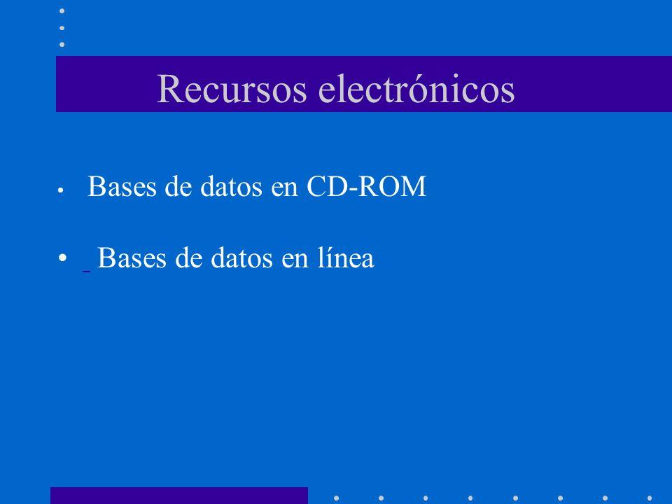 Recursos electrónicos Bases de datos en CD-ROM Bases de datos en línea