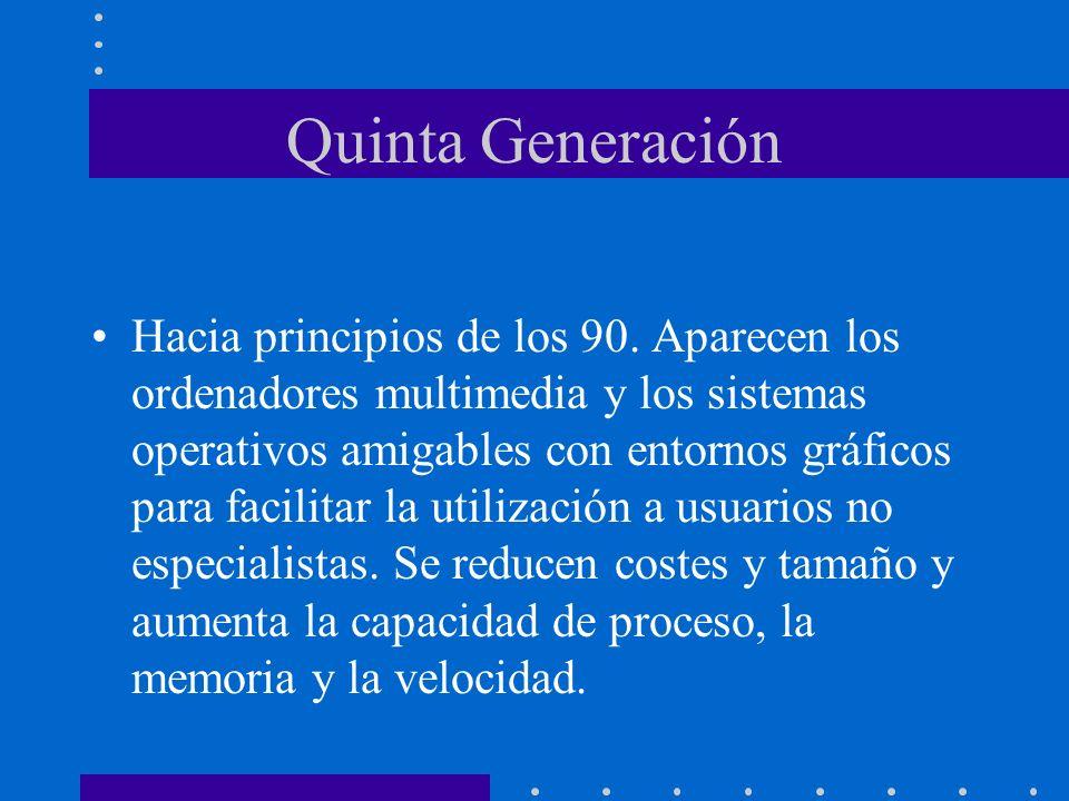 Quinta Generación Hacia principios de los 90. Aparecen los ordenadores multimedia y los sistemas operativos amigables con entornos gráficos para facil