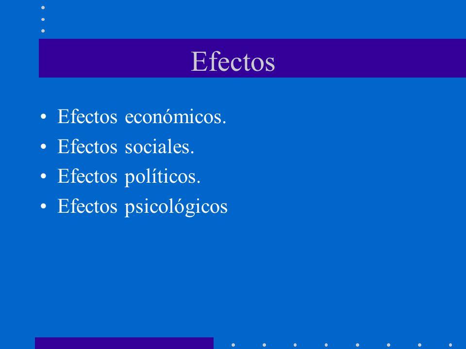 Efectos Efectos económicos. Efectos sociales. Efectos políticos. Efectos psicológicos