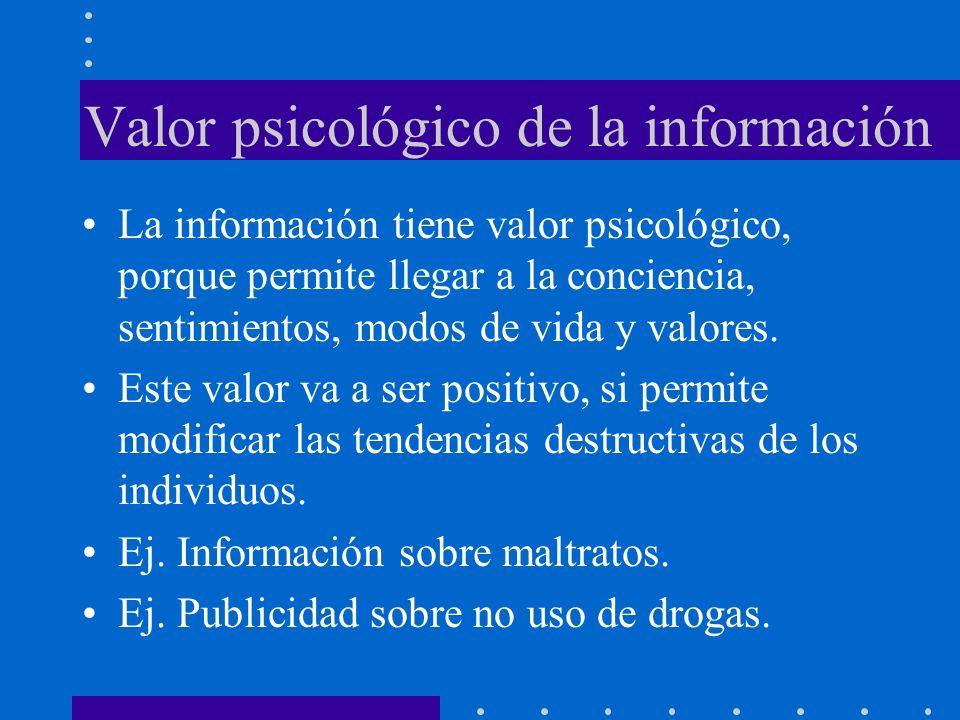 Valor psicológico de la información La información tiene valor psicológico, porque permite llegar a la conciencia, sentimientos, modos de vida y valor