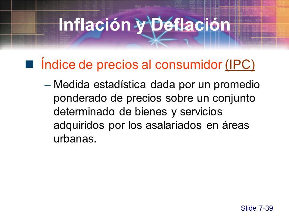 Slide 7-39 Inflación y Deflación Índice de precios al consumidor (IPC)(IPC) –Medida estadística dada por un promedio ponderado de precios sobre un con